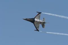 F16 airplane. F16 airshow demonstration royalty free stock photo