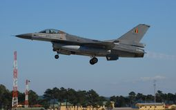 F16 Belgium Fighter Jet. Armed Belgium Air Force F16 fighter jet take-off full after burner Stock Images