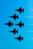 F16 Fighter Jets. In formation Royalty Free Stock Image