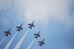F16 Fighters. Image of F16 Fighting Falcons soaring into the sky Royalty Free Stock Images