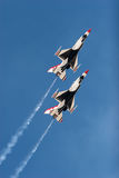 F16 thunderbird planes at airshow stock photo