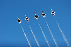 F16 thunderbird planes at airshow. F16 thunderbird planes at the airshow royalty free stock photography