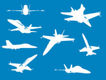 F18 Fighter Aircraft. In various angles - silhouette royalty free illustration