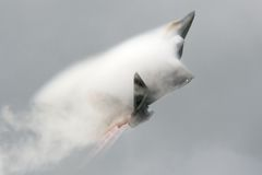 F22 Raptor. An F22 Raptor takes off from Fairford Air Base in July 2008 royalty free stock photo