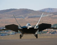 F22 Raptor jet fighter. A view of the rear of a US Air Force F22 Raptor fighter aircraft royalty free stock photos