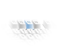 F3 key search function graphic. Graphical illustration of the F3 search function key on a computer generated keyboard picture. Emphasized by blue colour shading Royalty Free Illustration