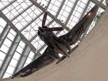 F4U Corsair WWII Aircraft. The United States Marine Corps Museum in Quantico, VA.  An F4-U Corsair hangs from the ceiling above the entryway Stock Images