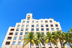 Façade of art deco building of Miami Beach, Florida. Stock Photos