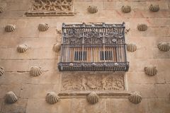 Façade Casa DE las Conchas in Salamanca royalty-vrije stock foto