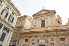 Façade van de Kerk van Jesus in Genua royalty-vrije stock foto