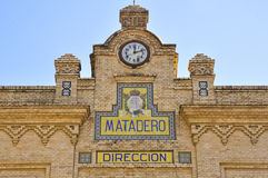 Façade van het Oude Slachthuis in Sevilla, Spanje Stock Foto's