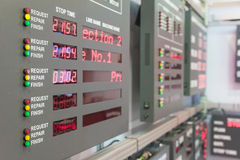 Faça à máquina o monitor do estado na sala de comando na fábrica imagens de stock