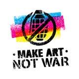 Faça Art Not War Motivation Quote Conceito criativo do cartaz da tipografia do vetor Foto de Stock Royalty Free