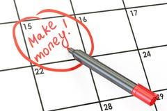 Faça a data do dinheiro no conceito do calendário, rendição 3D Foto de Stock Royalty Free