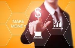 Faça a dinheiro o conceito em linha do Internet da finança do negócio do sucesso do lucro imagens de stock