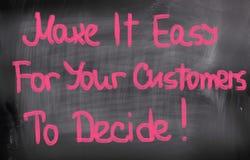 Faça fácil para que seus clientes decidam o conceito imagens de stock