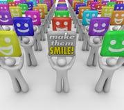 Faça-lhes povos das palavras do sorriso bons humores felizes Fotos de Stock Royalty Free