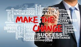 Faça a mudança com o desenho relacionado da mão da nuvem da palavra pelo negócio Imagem de Stock Royalty Free