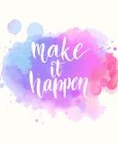 Faça-o acontecer Frase branca escrita à mão no rosa Imagem de Stock Royalty Free