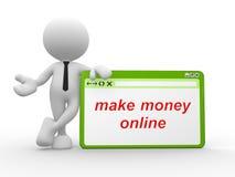 Faça o dinheiro em linha Imagens de Stock Royalty Free