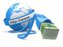 Faça o dinheiro em linha. Conceito. Terra e cabo do Internet com dinheiro. Imagem de Stock