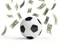 Faça o dinheiro no futebol Foto de Stock Royalty Free