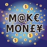 Faça o dinheiro - palavras e símbolos de moeda do dinheiro Fotos de Stock Royalty Free