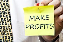 Faça o post-it dos lucros Fotografia de Stock Royalty Free