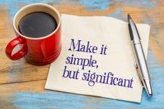 Faça-o simples, mas significativo Foto de Stock