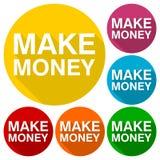 Faça os ícones do dinheiro ajustados com sombra longa Foto de Stock Royalty Free