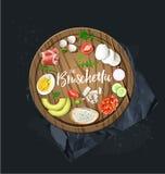 Faça seu bruschetta Todos os ingredientes estão prontos Gráficos de vetor ilustração do vetor