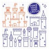 Faça seu próprio castelo Torre tirada mão da garatuja ilustração stock