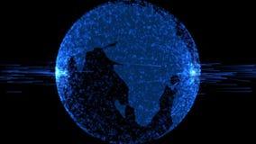 Faça sinal ao globo abstrato com partículas e estrutura do plexo Planeta da tecnologia de Digitas Estrutura Triangulated ilustração do vetor