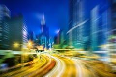 Faça sinal a cenas borradas da noite da cidade de Hong Kong para o fundo Imagens de Stock Royalty Free