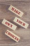 Faça suas próprias escolhas Mensagem inspirador Fotos de Stock Royalty Free