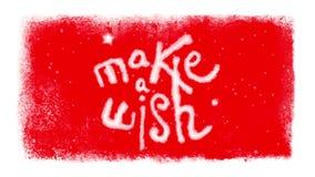 Faça um desejo que rotula dentro de um quadro congelado com neve em Chromakey vermelho vídeos de arquivo