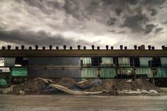 Façade abandonnée d'entrepôt Photos stock