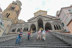 The Cathedral of Amalfi. The façade of the Amalfi Cathedral on the Amalfi coast stock photos