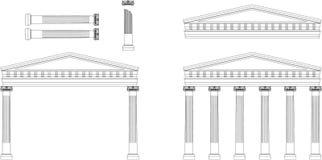 Façade antique de temple Photographie stock