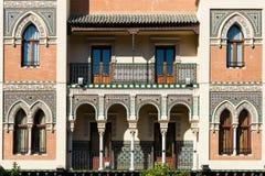 Façade avant d'une maison traditionnelle en Séville Photos libres de droits
