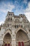 Façade avant de la cathédrale d'Amiens Image libre de droits