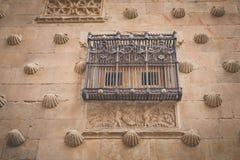 Façade Casa de las Conchas in Salamanca. Spain royalty free stock photo