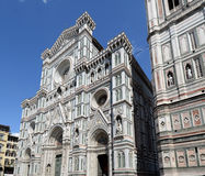 The façade of the Cathedral. Duomo, Campanile and Baptistry in Piazza del Duomo, Florence, Italy stock photos
