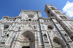 The façade of the Cathedral - Florence. Piazza del Duomo Florence Italy Tourists visiting Florence - city, in Tuscany, Italy Stock Photos