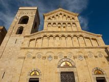 The façade of the Cathedral of Cagliari in Sardinia. The façade of the cathedral of Santa Maria di Cagliari in Sardinia, the main place of worship of the royalty free stock photography