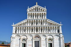 Façade of cathedral on Square of Miracles in Pisa, Italy. Façade of cathedral on Square of Miracles in Pisa in Italy royalty free stock photos