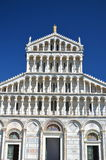 Façade of cathedral on Square of Miracles in Pisa, Italy. Façade of cathedral on Square of Miracles in Pisa in Italy royalty free stock images