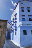 Façade of chefchaouen morocco. Street and façade of chefchaouen morocco stock photos