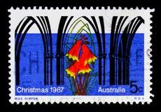 Façade d'église dans le style gothique, Blandfordia grandiflora, serie 1967 de Noël, vers 1967 Photo stock