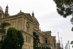 Façade d'Art de Catalunya de ` de Barcelone, Espagne Museu Nacional d photographie stock libre de droits